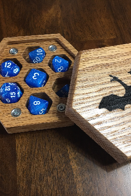 Hexagon Dice Box - Red Oak - With Dragon Engraving