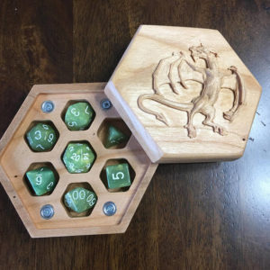 Hexagon Cherry, Raised Dragon Carved