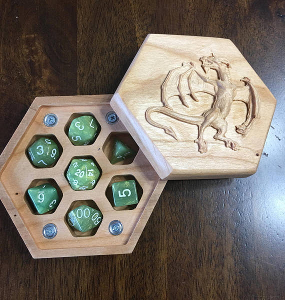 Hexagon Cherry, Raised Dragon Carved