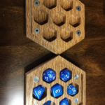 Red Oak Open Hexagon Dragon Engraved box
